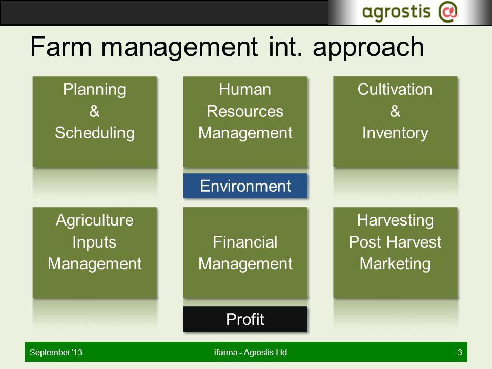 Farm management int. approach September '13ifarma - Agrostis Ltd3