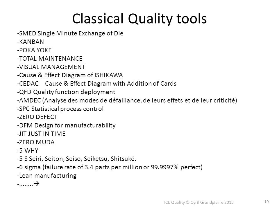 Classical Quality tools ICE Quality © Cyril Grandpierre 2013 19 -SMED Single Minute Exchange of Die -KANBAN -POKA YOKE -TOTAL MAINTENANCE -VISUAL MANAGEMENT -Cause & Effect Diagram of ISHIKAWA -CEDAC Cause & Effect Diagram with Addition of Cards -QFD Quality function deployment -AMDEC (Analyse des modes de défaillance, de leurs effets et de leur criticité) -SPC Statistical process control -ZERO DEFECT -DFM Design for manufacturability -JIT JUST IN TIME -ZERO MUDA -5 WHY -5 S Seiri, Seiton, Seiso, Seiketsu, Shitsuké.