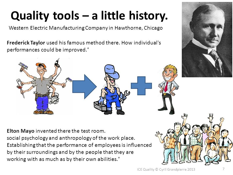 Quality tools – a little history. ICE Quality © Cyril Grandpierre 2013 7 Elton Mayo invented there the test room. social psychology and anthropology o
