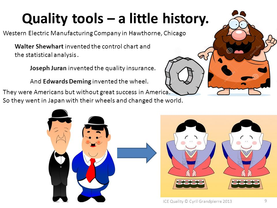 Quality tools – a little history. ICE Quality © Cyril Grandpierre 2013 9 Walter Shewhart invented the control chart and the statistical analysis. West