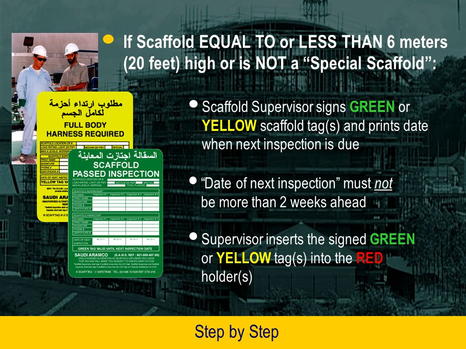 If Scaffold Supervisor decides scaffold is safe to use, he will fill in and sign, as applicable, GREEN (Passed Inspection) or YELLOW (Full Body Harness Required) scaffold tag(s) Further on in this presentation, you will be shown how to fill in these inserts Scaffold Supervisor gives completed checklist to Work Permit Issuers unit, who keeps it until scaffold taken down Step by Step