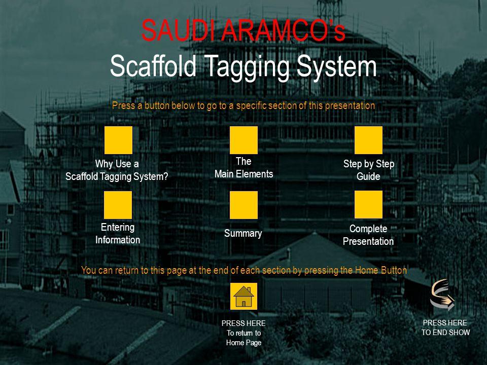 SAUDI ARAMCOs Scaffold Tagging System