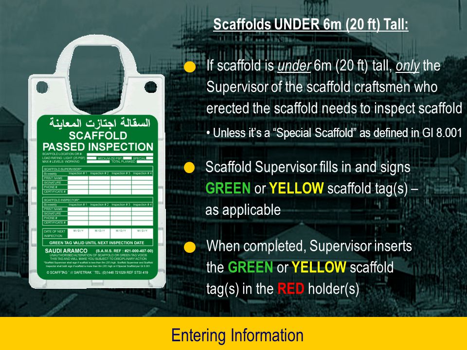 For writing on GREEN or YELLOW scaffold tag inserts, use only permanent marker pens (S/N 1000123296) (old SAMS # 21-000-409-000 )