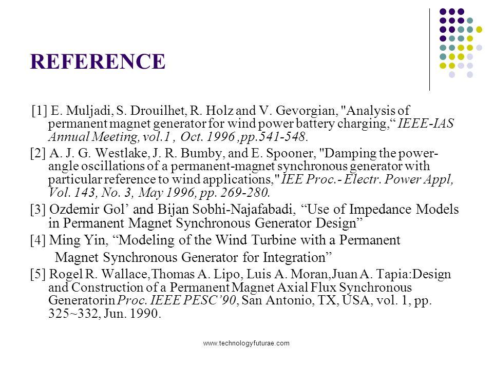 www.technologyfuturae.com REFERENCE [1] E. Muljadi, S. Drouilhet, R. Holz and V. Gevorgian,