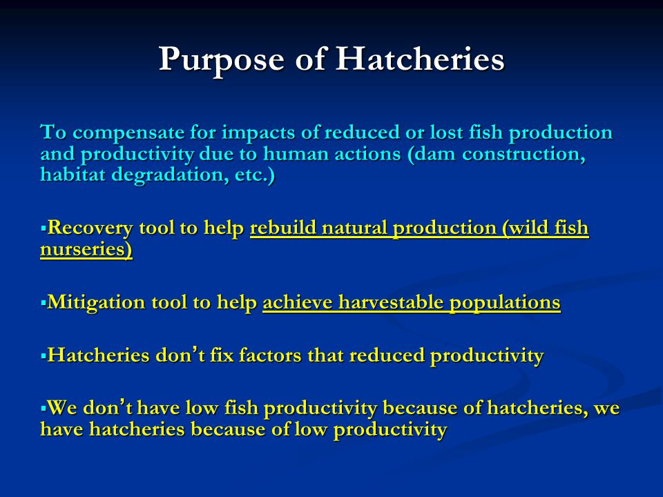 Purpose of Hatcheries To compensate for impacts of reduced or lost fish production and productivity due to human actions (dam construction, habitat degradation, etc.) Recovery tool to help rebuild natural production (wild fish nurseries) Recovery tool to help rebuild natural production (wild fish nurseries) Mitigation tool to help achieve harvestable populations Mitigation tool to help achieve harvestable populations Hatcheries dont fix factors that reduced productivity Hatcheries dont fix factors that reduced productivity We dont have low fish productivity because of hatcheries, we have hatcheries because of low productivity We dont have low fish productivity because of hatcheries, we have hatcheries because of low productivity