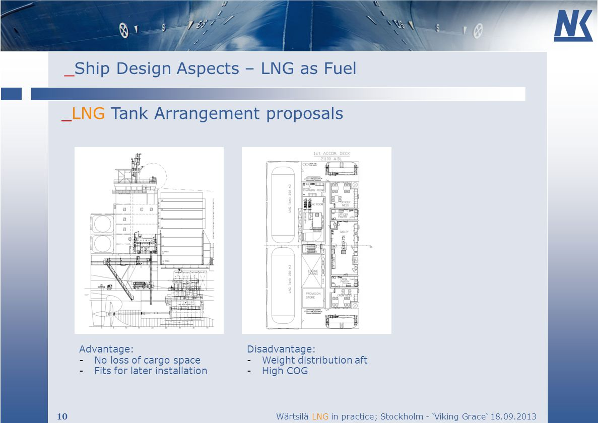 _Ship Design Aspects – LNG as Fuel 10 Wärtsilä LNG in practice; Stockholm - Viking Grace 18.09.2013 _LNG Tank Arrangement proposals Advantage: -No loss of cargo space -Fits for later installation Disadvantage: -Weight distribution aft -High COG