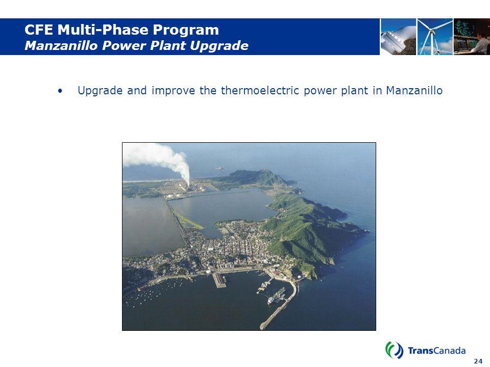24 CFE Multi-Phase Program Manzanillo Power Plant Upgrade Upgrade and improve the thermoelectric power plant in Manzanillo