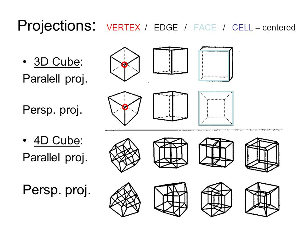 Projections : VERTEX / EDGE / FACE / CELL – centered 3D Cube: Paralell proj. Persp. proj. 4D Cube: Parallel proj. Persp. proj.