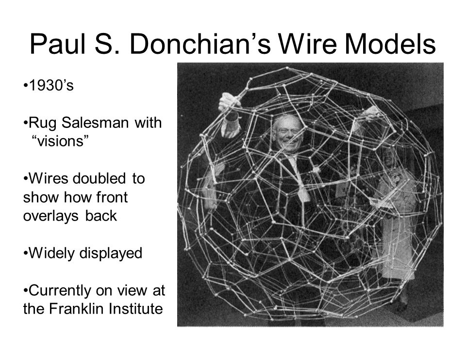 Paul S. Donchians Wire Models 1930s Rug Salesman with visions Wires doubled to show how front overlays back Widely displayed Currently on view at the
