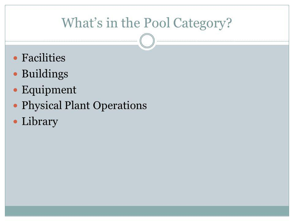 Whats in the Pool Category Facilities Buildings Equipment Physical Plant Operations Library