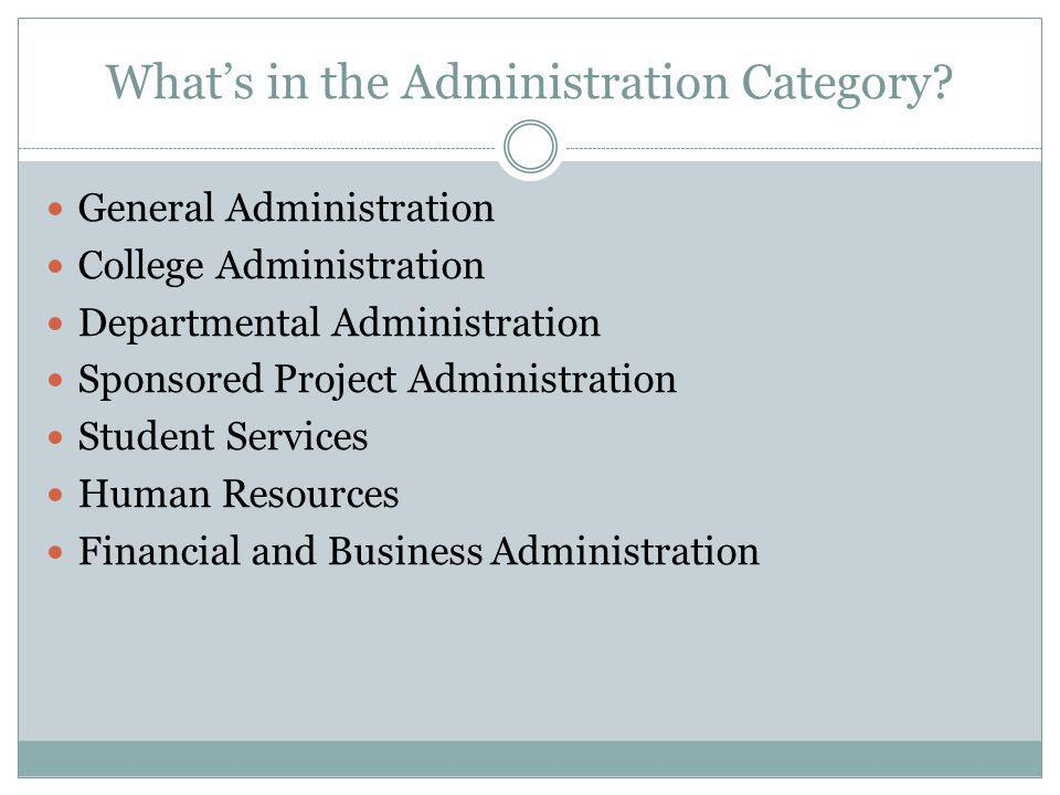 Whats in the Administration Category.