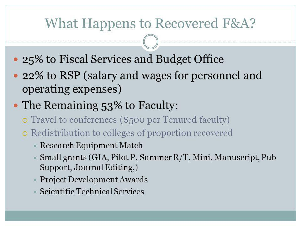 What Happens to Recovered F&A.