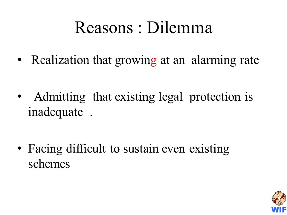 Reasons : Dilemma Realization that growing at an alarming rate Admitting that existing legal protection is inadequate.