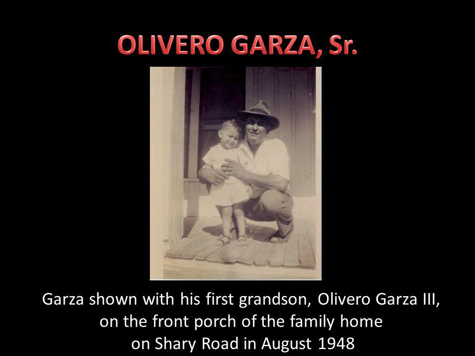 Olivero Garza, Sr. shown in the bowling alley of the Shary Estate.