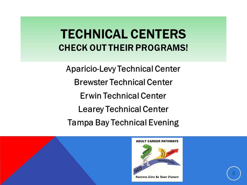 TECHNICAL CENTERS CHECK OUT THEIR PROGRAMS.