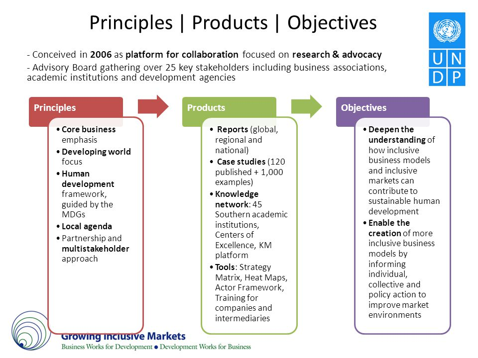 Principles   Products   Objectives - Conceived in 2006 as platform for collaboration focused on research & advocacy - Advisory Board gathering over 25