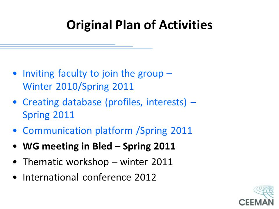Original Plan of Activities Inviting faculty to join the group – Winter 2010/Spring 2011 Creating database (profiles, interests) – Spring 2011 Communi