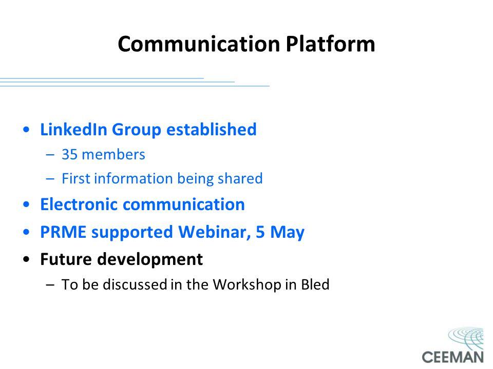 Communication Platform LinkedIn Group established –35 members –First information being shared Electronic communication PRME supported Webinar, 5 May F