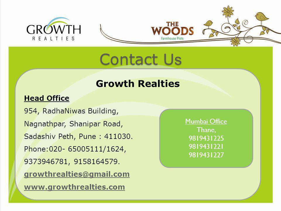 Contact Us Growth Realties Head Office 954, RadhaNiwas Building, Nagnathpar, Shanipar Road, Sadashiv Peth, Pune : 411030. Phone:020- 65005111/1624, 93