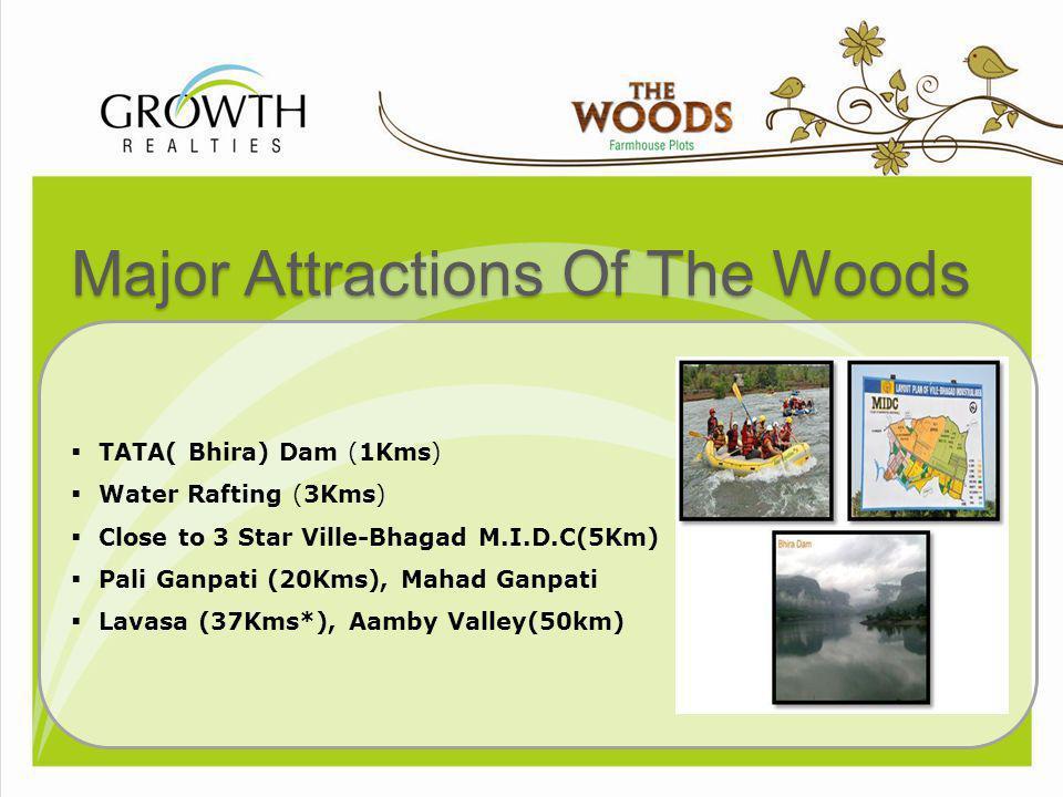Major Attractions Of The Woods TATA( Bhira) Dam (1Kms) Water Rafting (3Kms) Close to 3 Star Ville-Bhagad M.I.D.C(5Km) Pali Ganpati (20Kms), Mahad Ganp