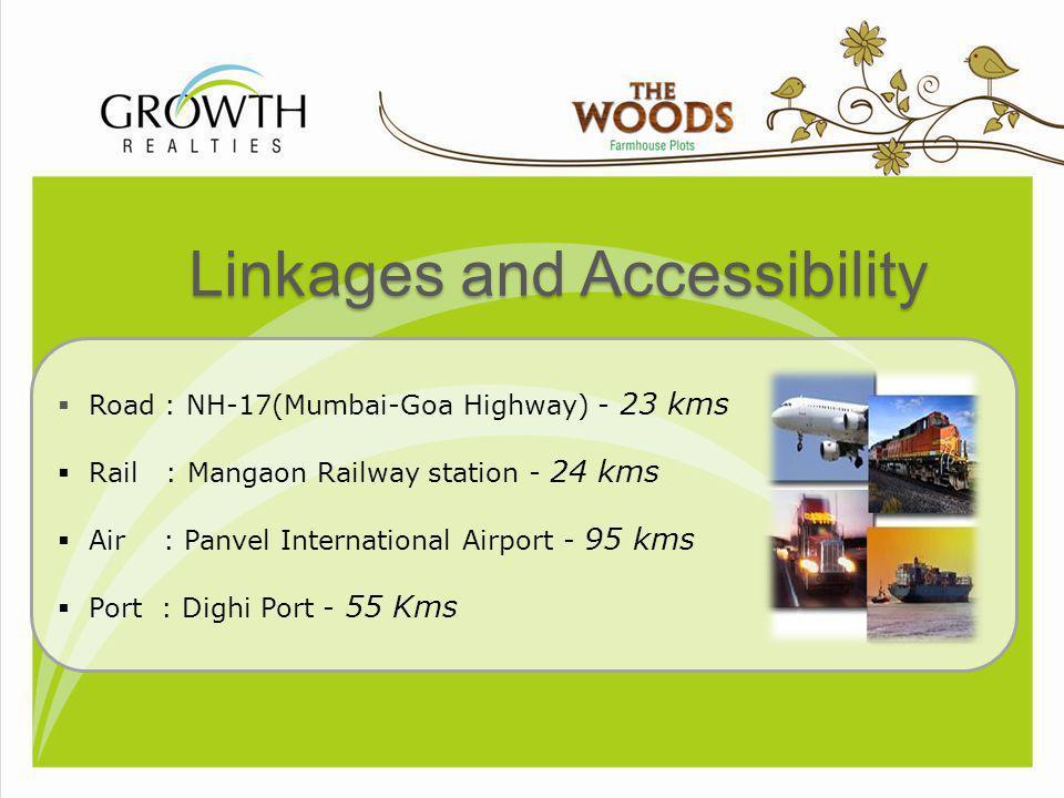 Distances Chandani Chowk, Pune - 85 km Hinjewadi IT Park - 86 km Panvel (Mumbai) -95 km Aamby Valley - 50 km Lavasa (5 km Ariel Distances) - 37 km Mumbai-Goa highway- Mangaon - 23 km Kolad- Mumbai-Goa highway - 23 km Alibag Beach - 60 km Pali (Ballaleshwar) - 20 km