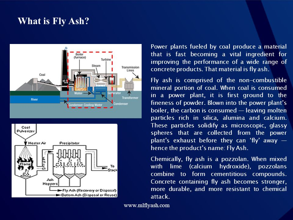 www.mlflyash.com What is Fly Ash? Power plants fueled by coal produce a material that is fast becoming a vital ingredient for improving the performanc
