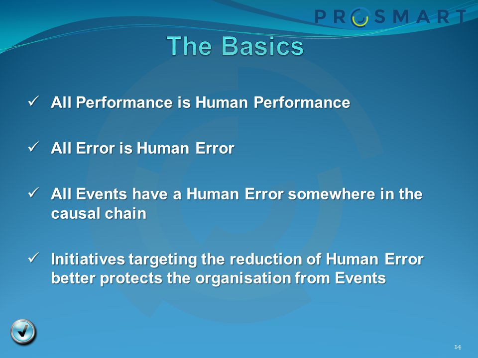 14 All Performance is Human Performance All Performance is Human Performance All Error is Human Error All Error is Human Error All Events have a Human