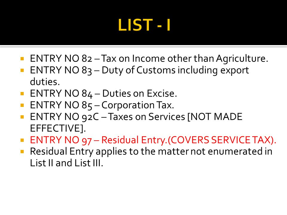 ENTRY NO 82 – Tax on Income other than Agriculture.