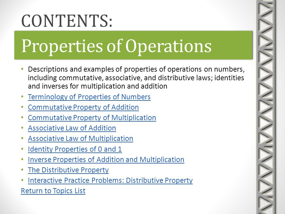 Link: Properties of Numbers 1Properties of Numbers 1Link: Properties of Numbers 1Properties of Numbers 1 Khan Academy video examples recognizing the associative and commutative properties of arithmetic Time 2:03 Properties of Operations