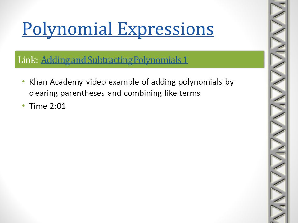Link: Adding and Subtracting Polynomials 1Adding and Subtracting Polynomials 1Link: Adding and Subtracting Polynomials 1Adding and Subtracting Polynom