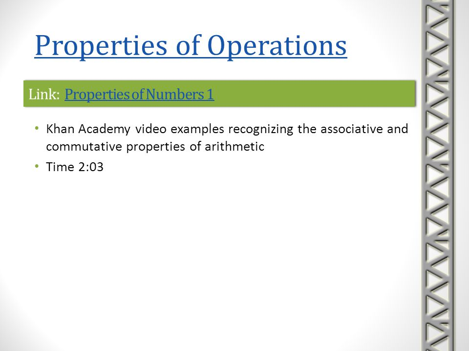 Link: Number Properties Terminology 1Number Properties Terminology 1Link: Number Properties Terminology 1Number Properties Terminology 1 Khan Academy video examples recognizing the distributive, associative, and commutative properties of arithmetic Time 3:05 Properties of Operations