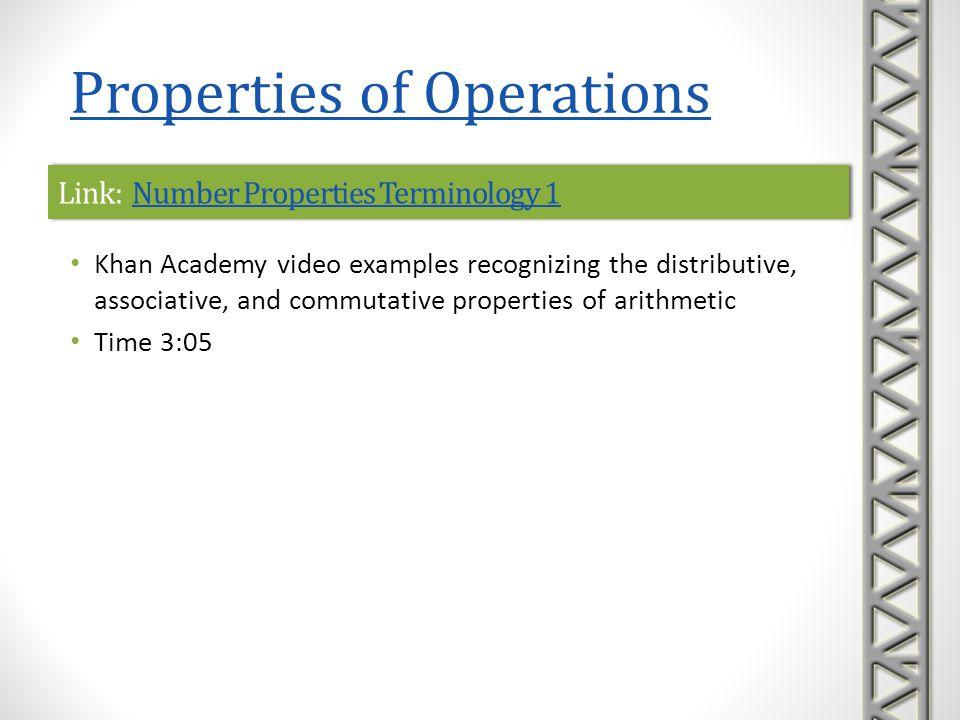 Link: Number Properties Terminology 1Number Properties Terminology 1Link: Number Properties Terminology 1Number Properties Terminology 1 Khan Academy