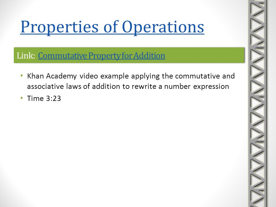 Link: Commutative Property of MultiplicationCommutative Property of MultiplicationLink: Commutative Property of MultiplicationCommutative Property of Multiplication Khan Academy video example applying the commutative law of multiplication to rewrite a number expression Time 1:48 Properties of Operations