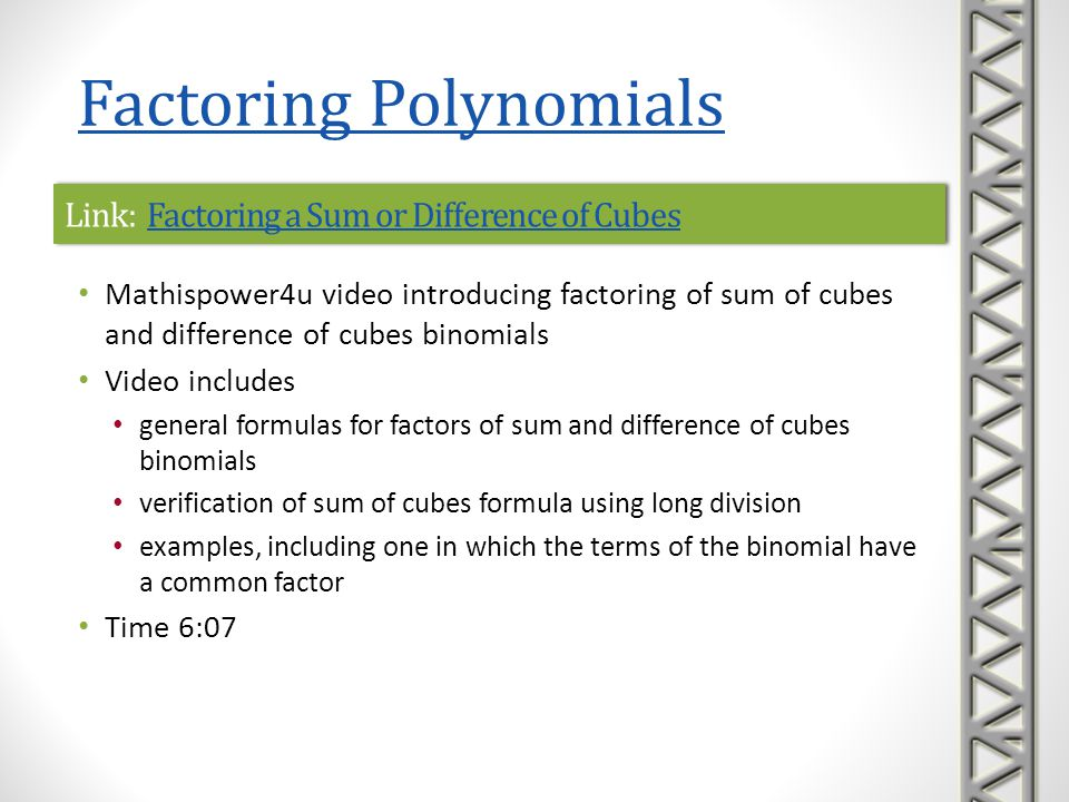 Link: How Do You Factor a Polynomial Using a Sum of Cubes?How Do You Factor a Polynomial Using a Sum of Cubes?Link: How Do You Factor a Polynomial Using a Sum of Cubes?How Do You Factor a Polynomial Using a Sum of Cubes.