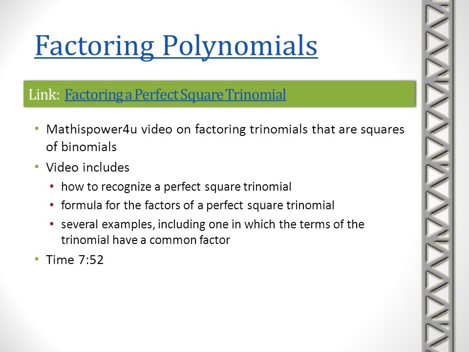 Link: How Do You Use a Shortcut to Factor a Perfect Square Trinomial.