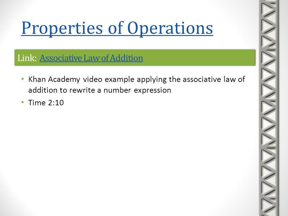 Link: Associative Law of AdditionAssociative Law of AdditionLink: Associative Law of AdditionAssociative Law of Addition Khan Academy video example ap