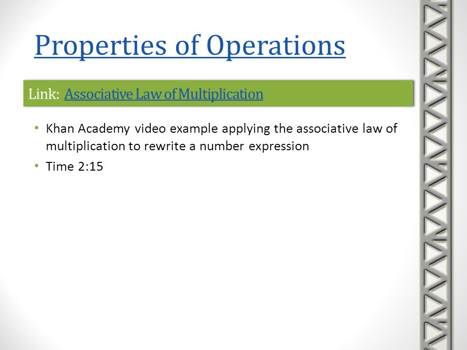 Link: Identity Property of 0Identity Property of 0Link: Identity Property of 0Identity Property of 0 Khan Academy video examples demonstrating the additive identity property of 0 Uses the method of the number line and absolute values when adding a zero in a numerical expression with more than one operation Time 4:46 Properties of Operations