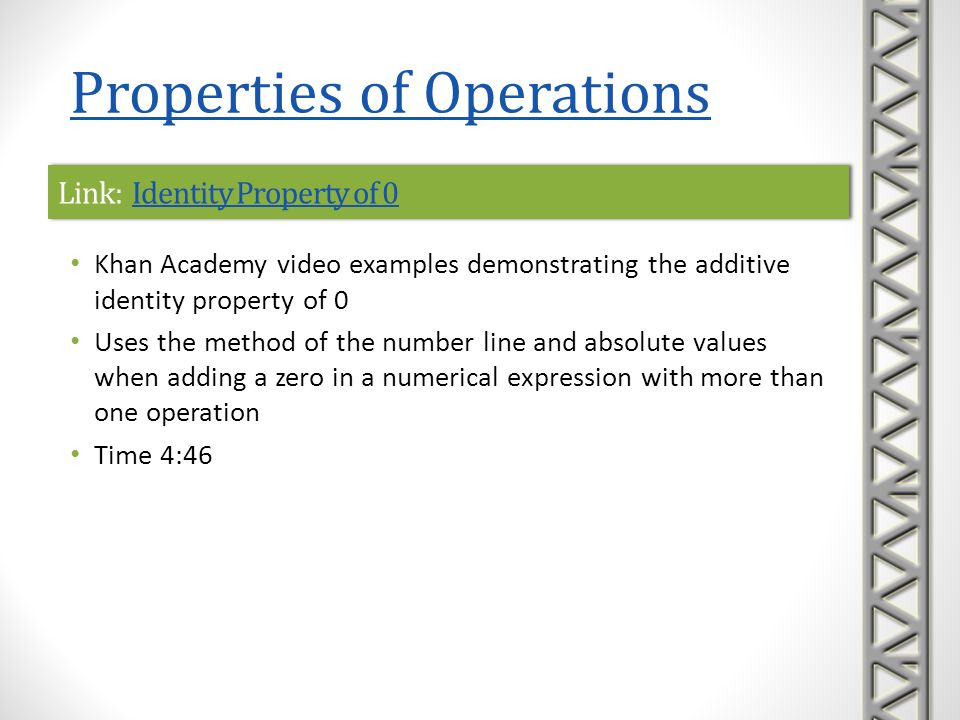 Link: Identity Property of 0Identity Property of 0Link: Identity Property of 0Identity Property of 0 Khan Academy video examples demonstrating the add