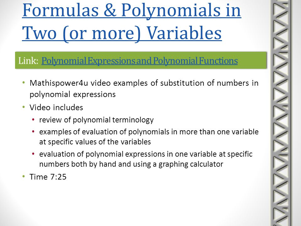 Link: Evaluate a Quadratic Equation - Death ApplicationEvaluate a Quadratic Equation - Death ApplicationLink: Evaluate a Quadratic Equation - Death ApplicationEvaluate a Quadratic Equation - Death Application Mathispower4u video example evaluating a quadratic polynomial at a number Polynomial formula models a real-world problem and includes non-integer (decimal) coefficients A calculator is used for most of the calculations Time 4:52 Formulas & Polynomials in Two (or more) Variables