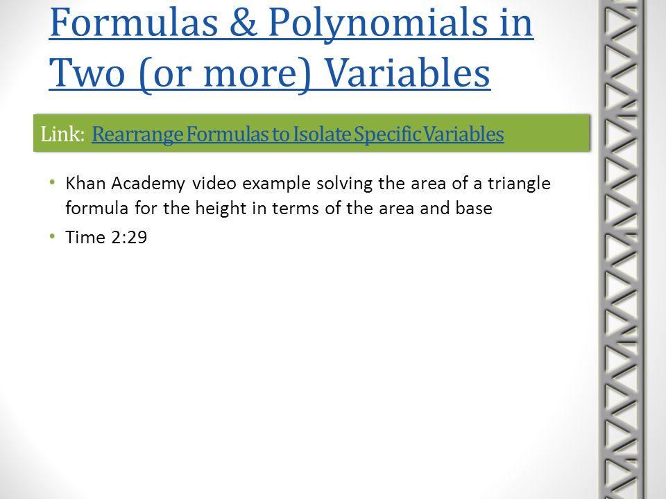 Link: Rearrange Formulas to Isolate Specific VariablesRearrange Formulas to Isolate Specific VariablesLink: Rearrange Formulas to Isolate Specific Var