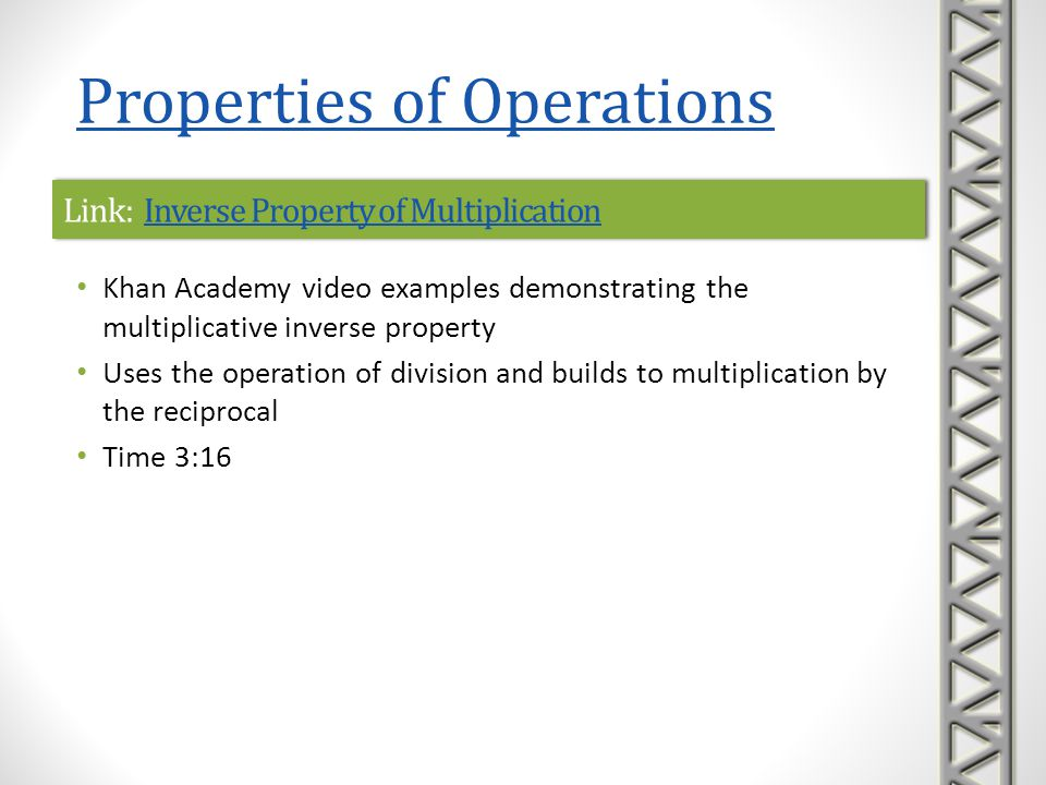 Link: Inverse Property of MultiplicationInverse Property of MultiplicationLink: Inverse Property of MultiplicationInverse Property of Multiplication K