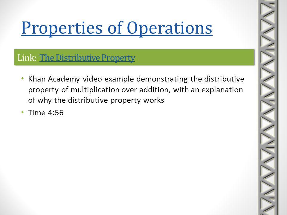 Link: The Distributive PropertyThe Distributive PropertyLink: The Distributive PropertyThe Distributive Property Khan Academy video example demonstrat