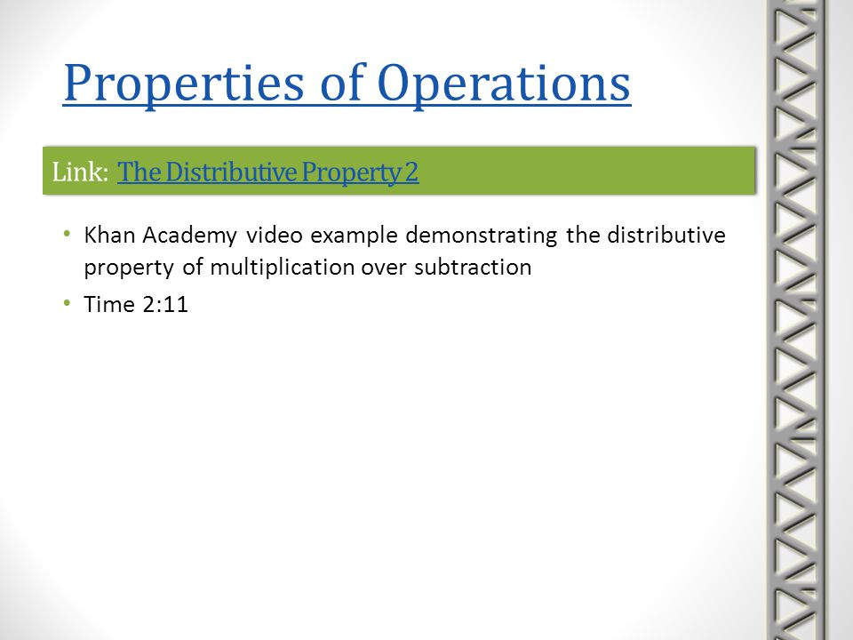 Link: The Distributive Property 2The Distributive Property 2Link: The Distributive Property 2The Distributive Property 2 Khan Academy video example de