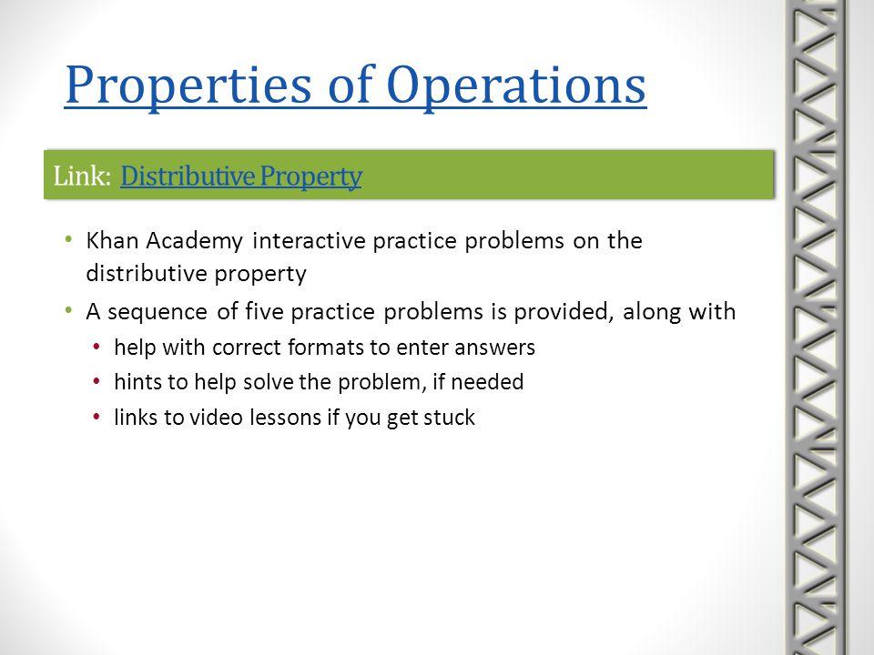 Link: Distributive PropertyDistributive PropertyLink: Distributive PropertyDistributive Property Khan Academy interactive practice problems on the dis