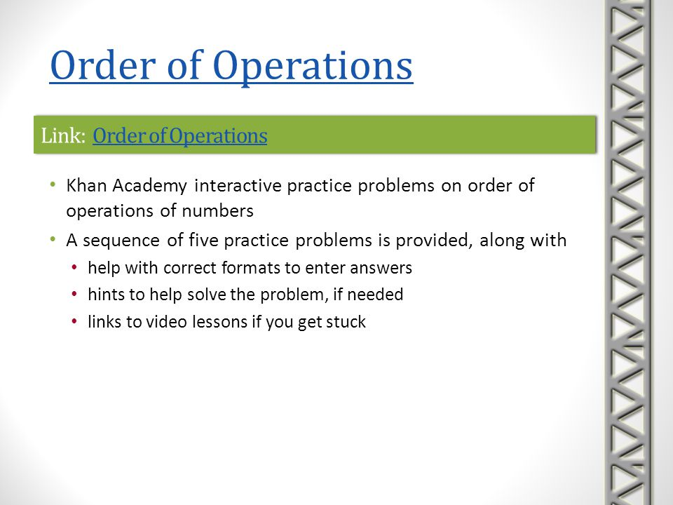 Link: Order of OperationsOrder of OperationsLink: Order of OperationsOrder of Operations Khan Academy interactive practice problems on order of operat