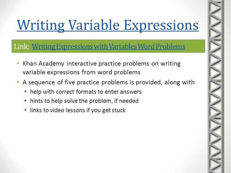 Link: Writing Expressions with Variables Word ProblemsWriting Expressions with Variables Word ProblemsLink: Writing Expressions with Variables Word Pr
