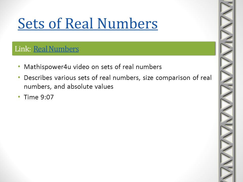Link: Recognizing Irrational NumbersRecognizing Irrational NumbersLink: Recognizing Irrational NumbersRecognizing Irrational Numbers Khan Academy video explaining the difference between rational and irrational numbers Time 2:18 Sets of Real Numbers