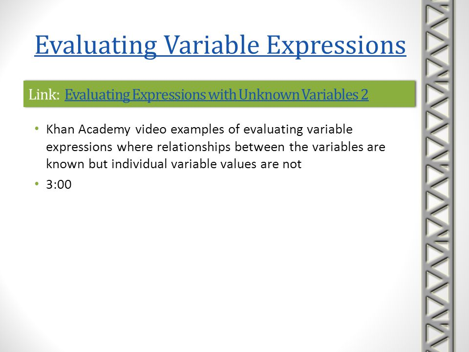 Link: Evaluating Expressions with Unknown Variables 2Evaluating Expressions with Unknown Variables 2Link: Evaluating Expressions with Unknown Variable