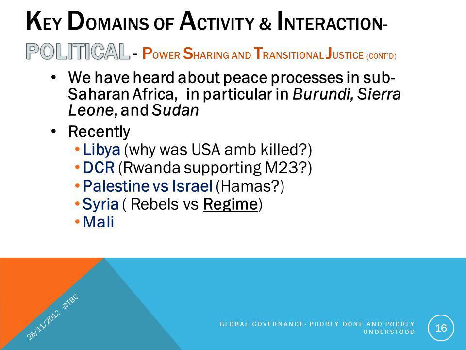 We have heard about peace processes in sub- Saharan Africa, in particular in Burundi, Sierra Leone, and Sudan Recently Libya (why was USA amb killed?)