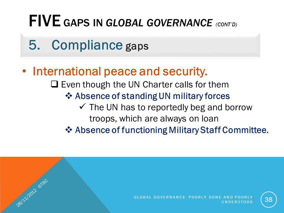FIVE GAPS IN GLOBAL GOVERNANCE (CONTD) 5.Compliance gaps 28/11/2012 ©TBC GLOBAL GOVERNANCE- POORLY DONE AND POORLY UNDERSTOOD 38 International peace a